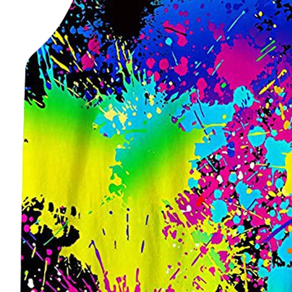 KUKICAT D/ébardeur Homme sans Manches Gilet De Sport Imprim/é Color/é D/écontract/é Respirante Casual Printemps Et /ét/é Soldes Pas Cher /Élastique L/âche Sport T-Shirt Blouse