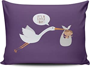 Healbrighting Pillow Cases Baby Crane Lovely Stork Home Decorative Pillowcase 16 x 24 Inch One Side Pattern Throw Pillow Covers