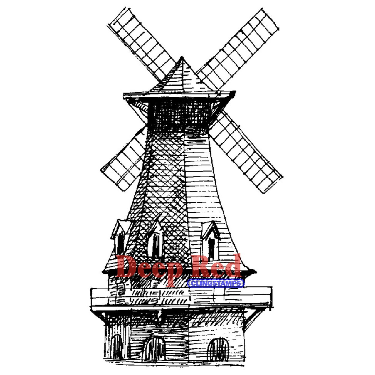 Brand New Deep Red Cling Stamp 1.5''''X3''''-Windmill Brand New