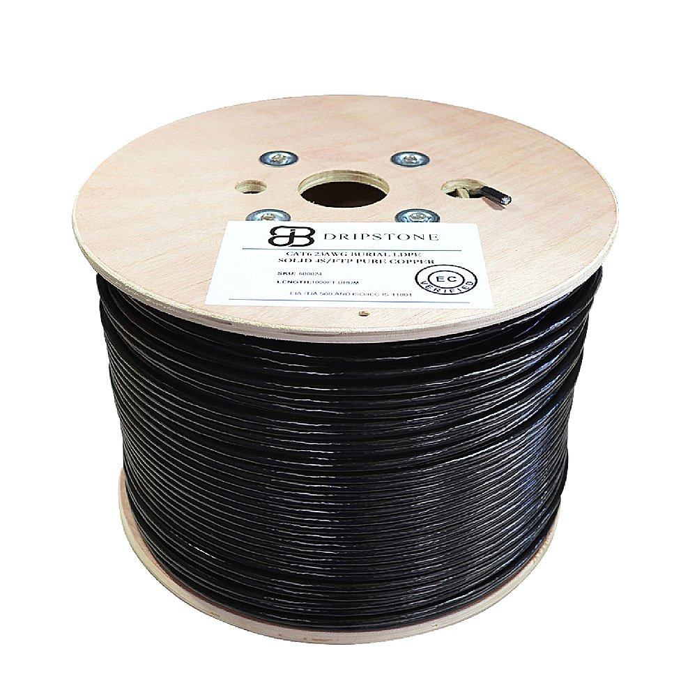 Dripstone Bare Copper 1000ft CAT6 SF/UTP Foiled and Shielded Outdoor/Direct Burial Solid Ethernet Cable 23AWG CMX Waterproof Wire Polyethylene (PE) Black 550Mhz by Dripstone