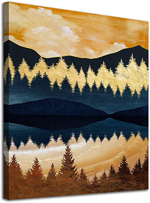 Mountains Sunset Wall Art Bathroom Decor Vintage Abstract Nordic Canvas Artwork Forests Modern Landscape Canvas Pictures for Bedroom Living Room Kitchen Office Home Decoration Framed Ready to Hang 12