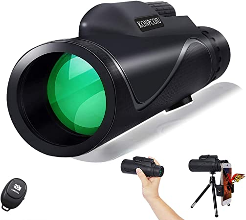 12x50 High Power Prism Spotting Scope for Adults with Cell Phone Photography Adapter and Wireless Camera Shutter Remote Control for Bird Watching//Hunting//Camping//Travelling Monocular Telescopes
