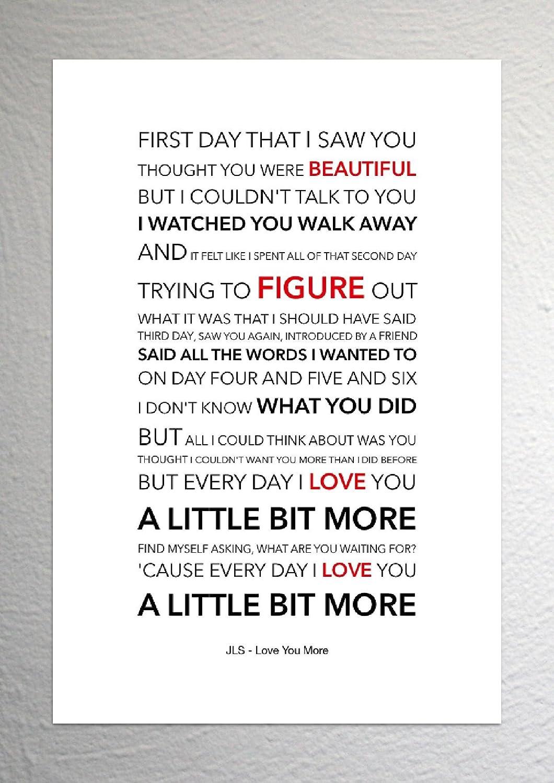 JLS - Love You More - Funky Lyric Art Print - A4 Size