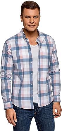 oodji Ultra Hombre Camisa a Cuadros de Algodón: Amazon.es: Ropa y accesorios