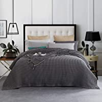 New Premium 100% Cotton Grey Large Waffle Blanket Bedspread Bed Super Soft Throw Rug Double Single Double Queen King…