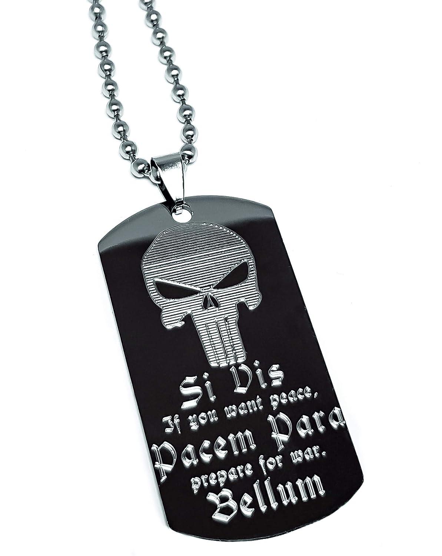 SI VIS PACEM PARA BELLUM & PUNISHER SKULL Stainless Steel Dog-Tag inkl. Halskette Real Bullet Design e.U HK078