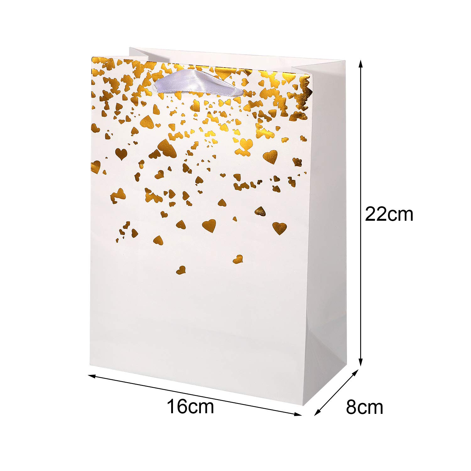 Chuangdi 20 Pieces Gold Heart Paper Bags Party Gift Bags Bride Bronzing Kraft Bag Hen Party Bags with Handles for Weddings Birthday Parties