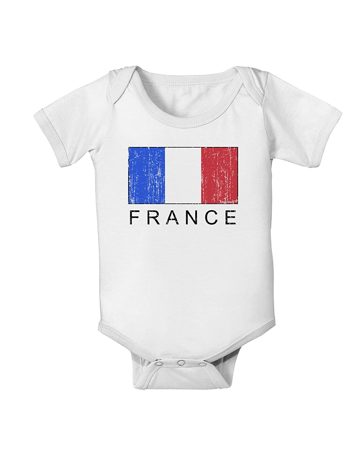 France Text Distressed Baby Romper Bodysuit TooLoud French Flag