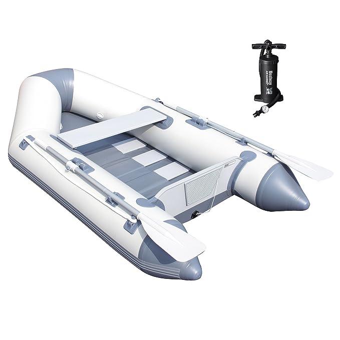 Bestway 65046 - Barca Hinchable Neumática Bestway Hydro-Force Caspian (230 x 137 x 37 cm) - Capacidad para 2 adultos, soporte para motor, inflador y ...