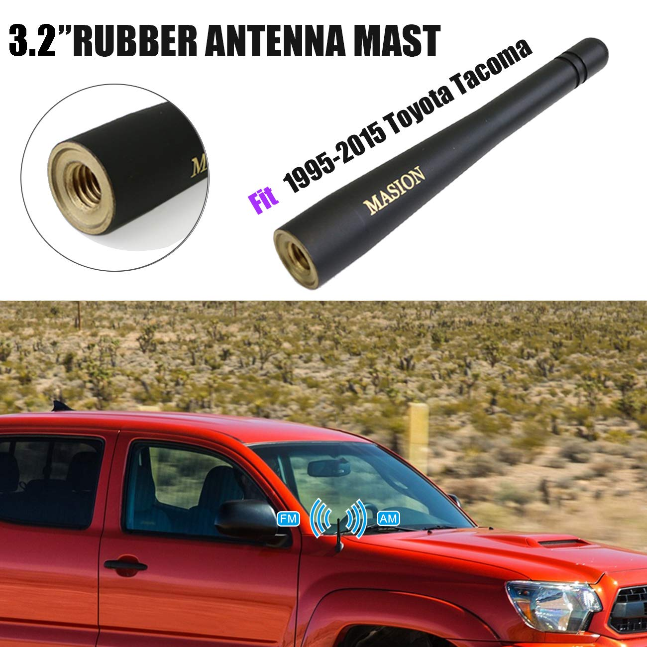 Replacement AM FM Accessories Audio for 2004-2017 Nissan Titan BOXATDOOR 3.2 Short Copper Vehicle Universal Antenna Black