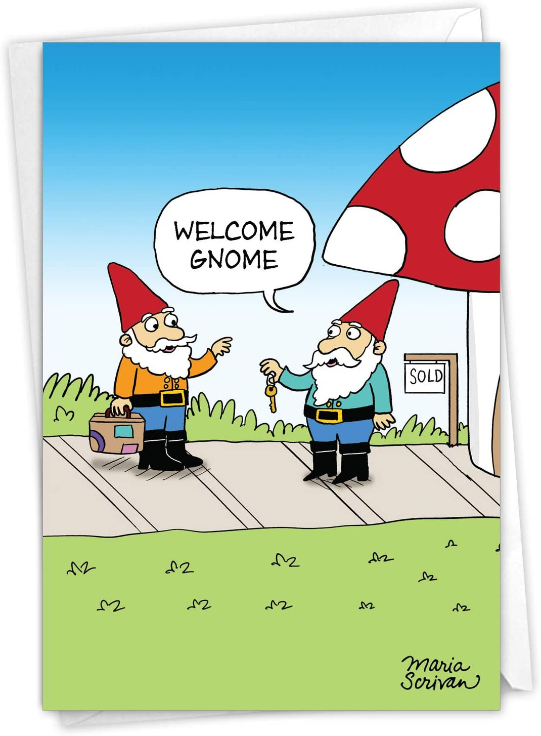 NobleWorks Welcome Gnome - New Home Greeting Card with Envelope (4.63 x 6.75 Inch) - C9300NHG