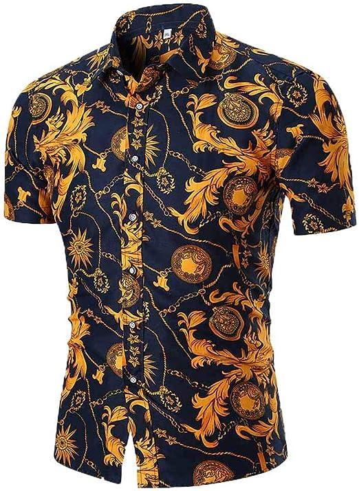 Men Floral Print Beach Shirts Hawaiian Short Sleeve Summer Button Casual T-shirt