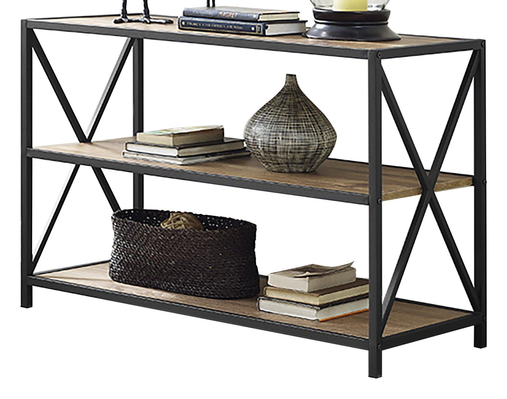 WE Furniture 40'' x-Frame Metal & Wood Media Bookshelf - Barnwood, 40'',