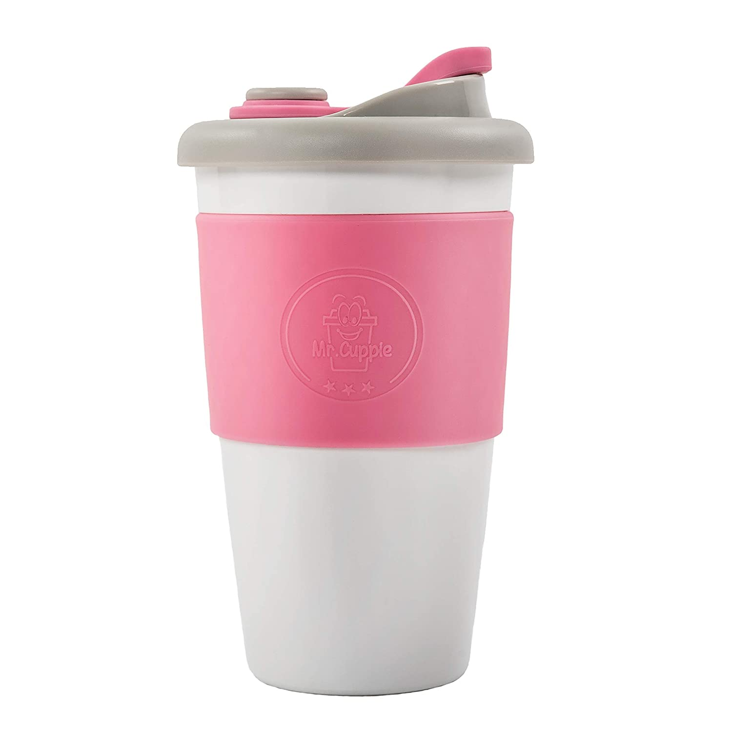 Mr. Cuppie Reusable Cup with Lid, Coffee To Go Travel Mug made of Eco-friendly BPA-Free Material with Non-Slip Sleeve, Dishwasher and Microwave Safe Insulated Coffee Mug, 16oz