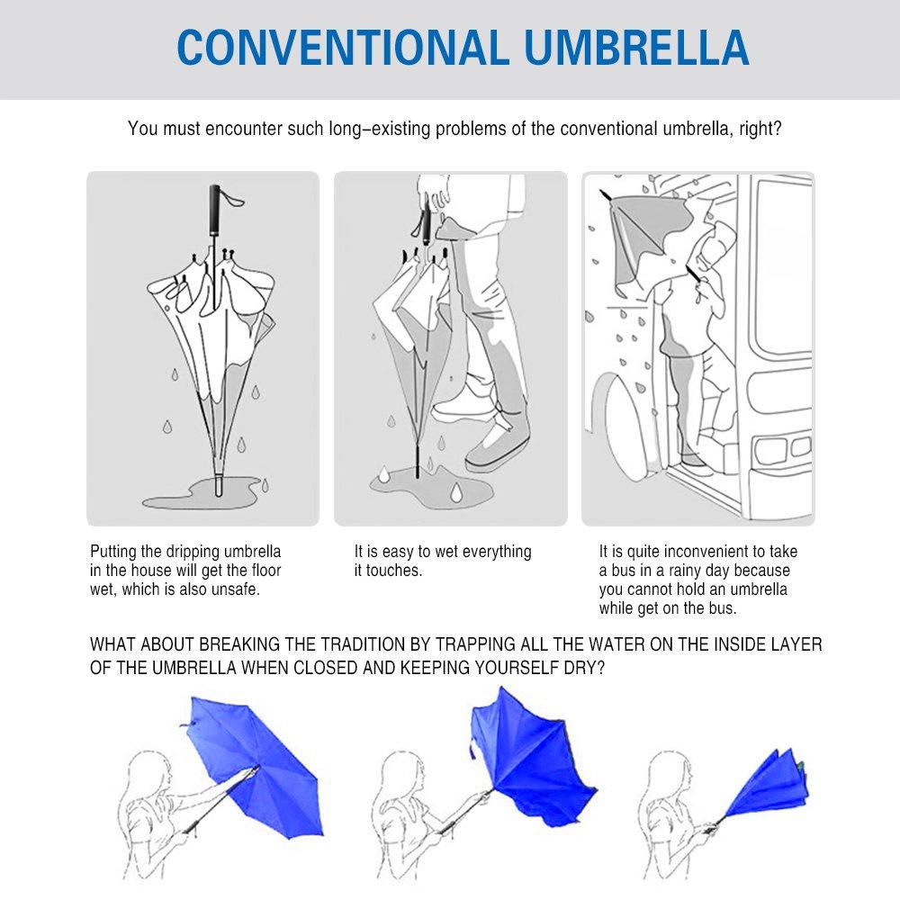 Saa Paraguas invertido de Doble Capa con Mango en Forma de C, Resistente a los Rayos UV, Resistente al Viento, Recto, para Coche, Lluvia, Uso al Aire Libre, ...