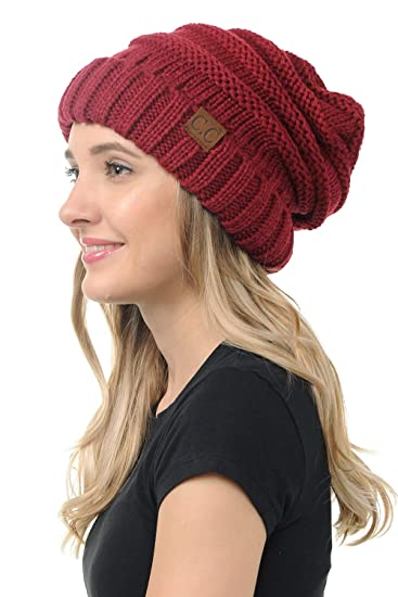 c25ca8672 BYSUMMER CC Oversized Stylish Thick Soft Cable Knit Slouchy Warm Winter  Beanie Hat (Burgundy)