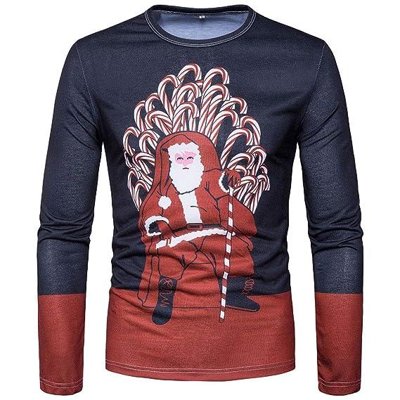 Camisetas Hombre Manga Larga, BBestseller Moda Pullover de Manga Larga con Estampado navideño Casual Slim Sweatshirt Superior Tops: Amazon.es: Ropa y ...