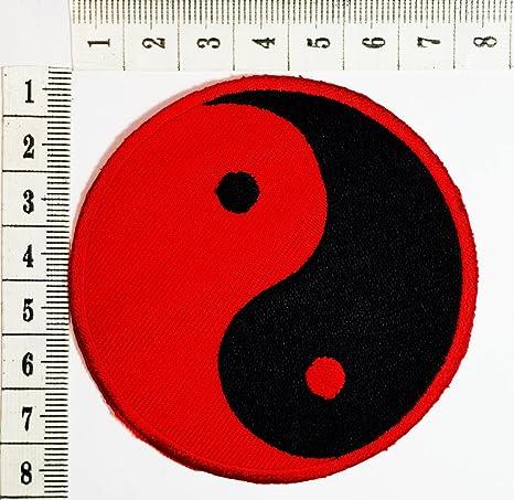 Rojo y Negro Yin Yang parche hermoso diseño parche bicicleta ...