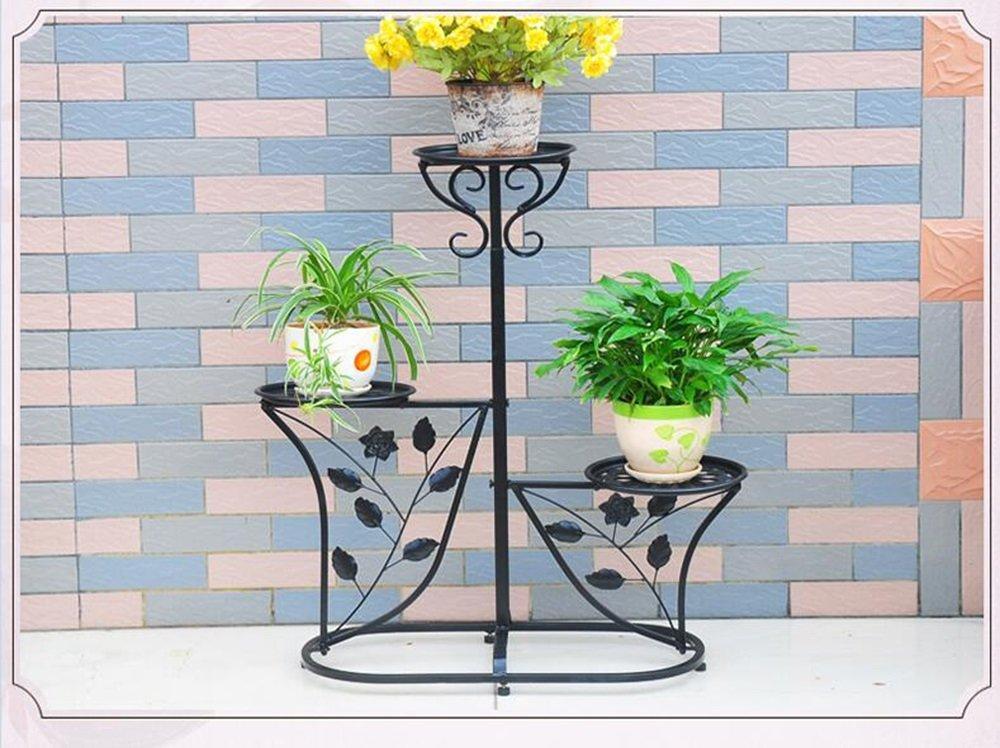 Schwarz WEBO Home- Europäischer Stil Garten Blaume Regal Wohnzimmer Balkon Blaumenständer -Regal (Farbe   Schwarz)