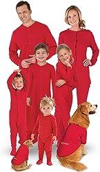 PajamaGram Onesie Dropseat Matching Family Pajama Set, Red
