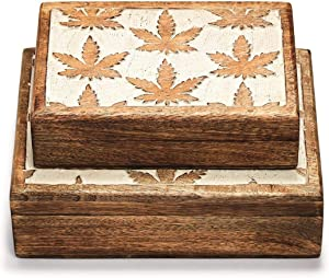 Cannabis Set of 2 Hand-Carved Boxes made from Mango Wood