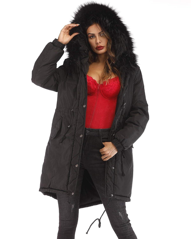 acd7b5cb746 Aox Womens Winter Faux Fur Hood Down Coat Casual Warm Thicken Zip Jacket  Long Parka Outwear at Amazon Women s Clothing store