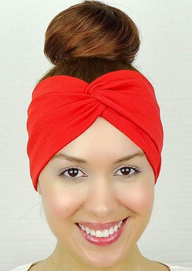 Amazon.com   Twist Headband Red Stretchy Turban Style Wide Head Wrap  Handmade Hair Accessory by Sweet in the City   Beauty 5a5011b563c