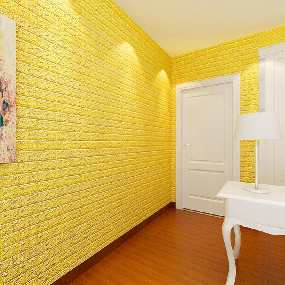 Wall Sticker,Connia Creative PE Foam 3D Wallpaper DIY Wall Stickers Wall Decor Embossed Brick Stone for Home Living Room House Bedroom (yellow)