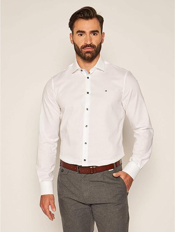Tommy Hilfiger Tailored Camisa Dobby blanco Slim Fit blanco ...