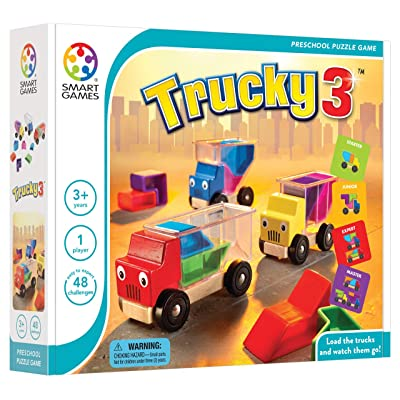 SmartGames Trucky 3 Wooden Skill-Building Puzzle Game Moving Trucks for Ages 3+: Toys & Games