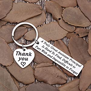 School Assistant-Principal-Gifts-Keychain-Appreciation Thank You Gifts School Counselor Teacher Men Women A Great Principal is Hard to Find Key Chain Retirement Gifts Parting Leaving Present