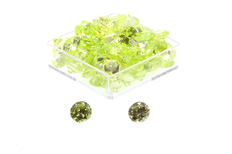 Birth Stone Jewels 4mm Peridot Round Brilliant Cut Cubic Zirconia Gem Stones Pack Of 2 4mmRPERICZ