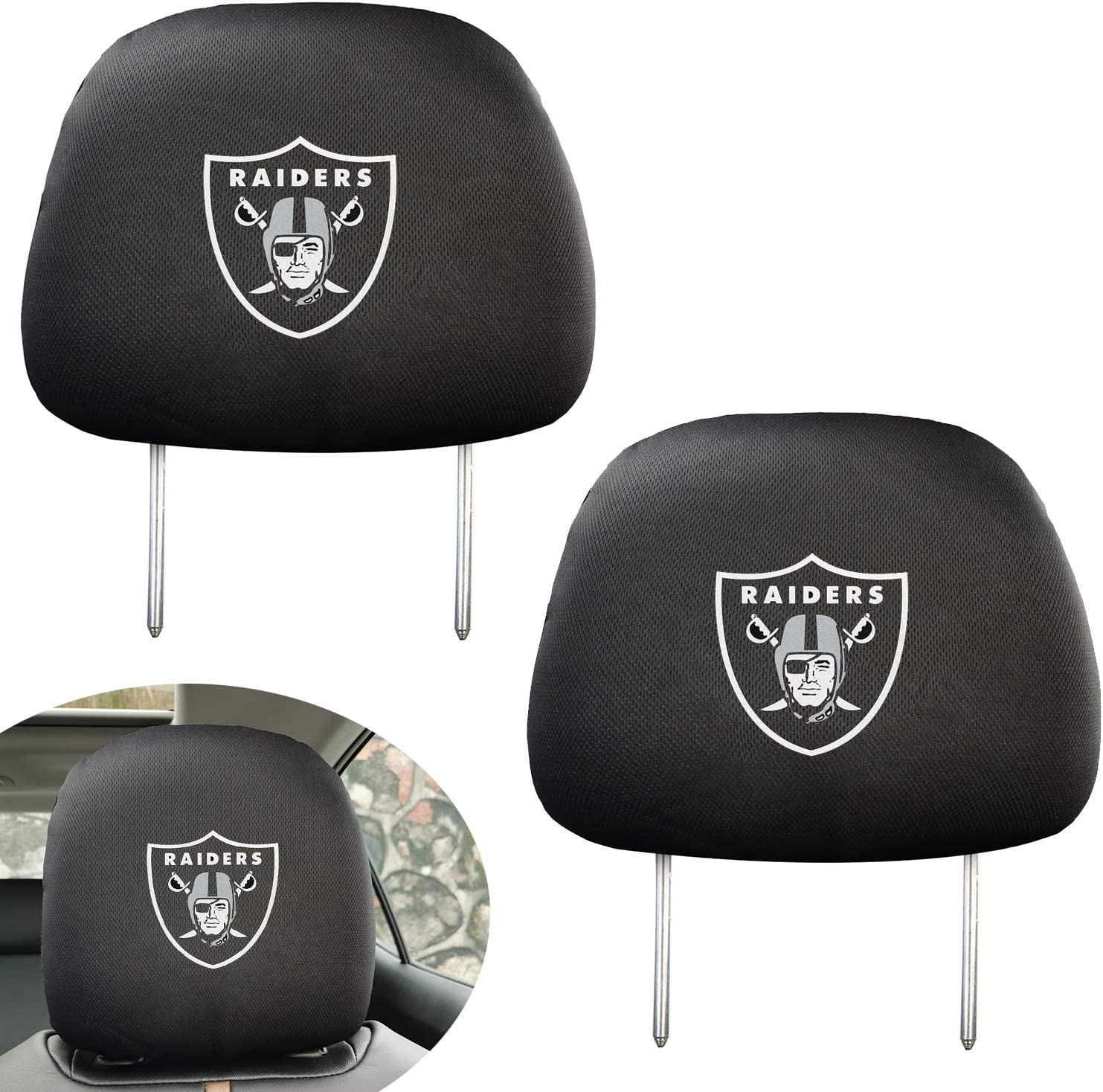 Pair of NFL Car Headrest Covers Oakland Raiders