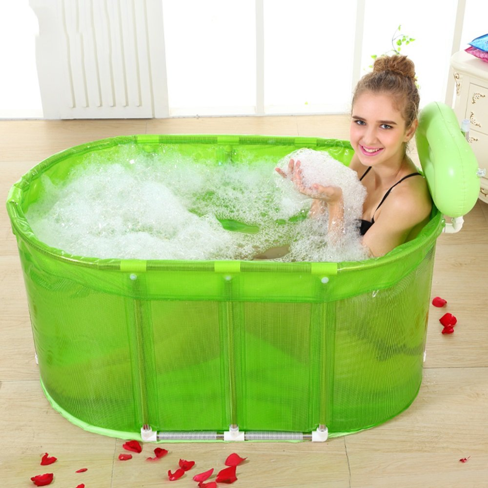 Practical portable child adult inflatable bathtub Sauna Bath Stainless Steel Bracket To Increase The Folding Bathtub QLM-Inflatable Bathtub and Inflatable plunge bath ( Color : Green )