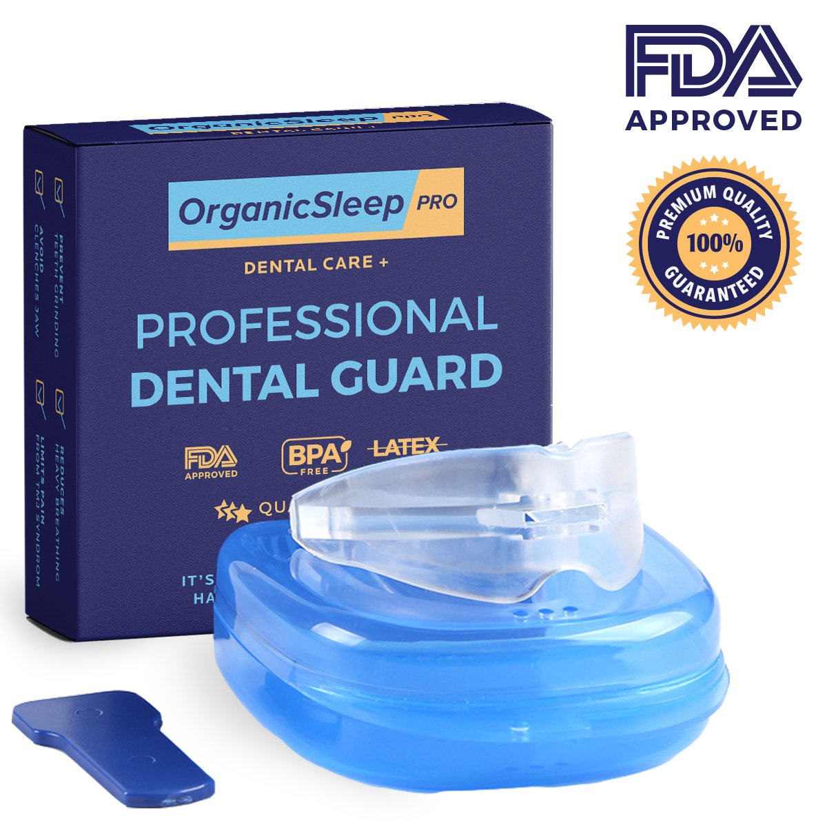 Sleep Night Mouth Guard. Bruxism Eliminator Sleep Aid Mouthpiece, For Sleep Disorders. Keeps Airways Open & Increases Oxygen Levels for a Peaceful, Comfortable Sleep. Snoring Mouthpiece & Carry Case