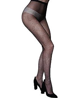 c1bf0682376 CHRLEISURE Women s Sparkle Rhinestone Fishnets Sexy Tights High Waist  Stockings