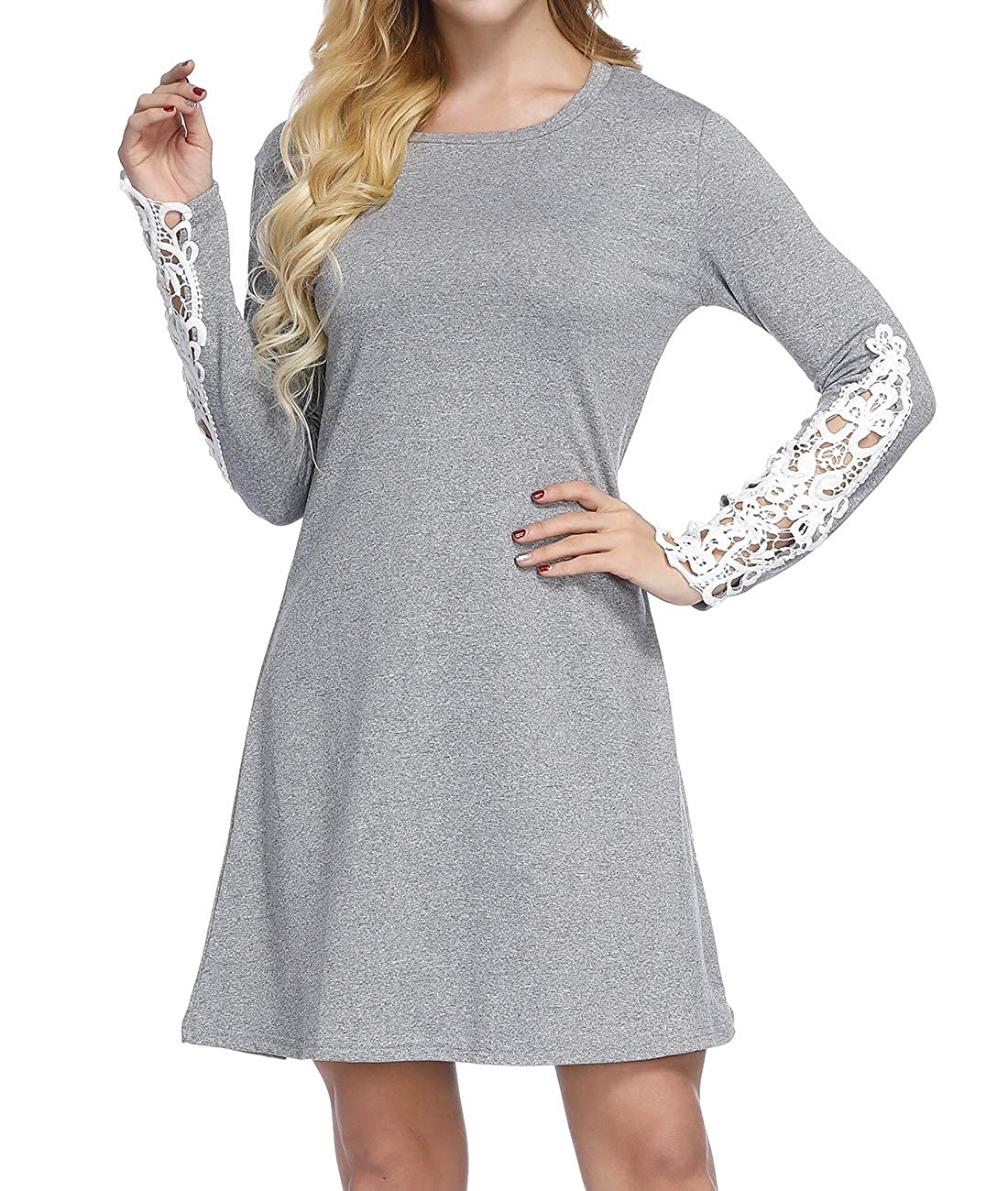 e0cf50be19f Long Sleeve Tunic Dress Casual Loose Swing T Shirt Dress with Lace Patches  for Women. Cute Tunic Dress This long sleeve tunic dress perfect for women