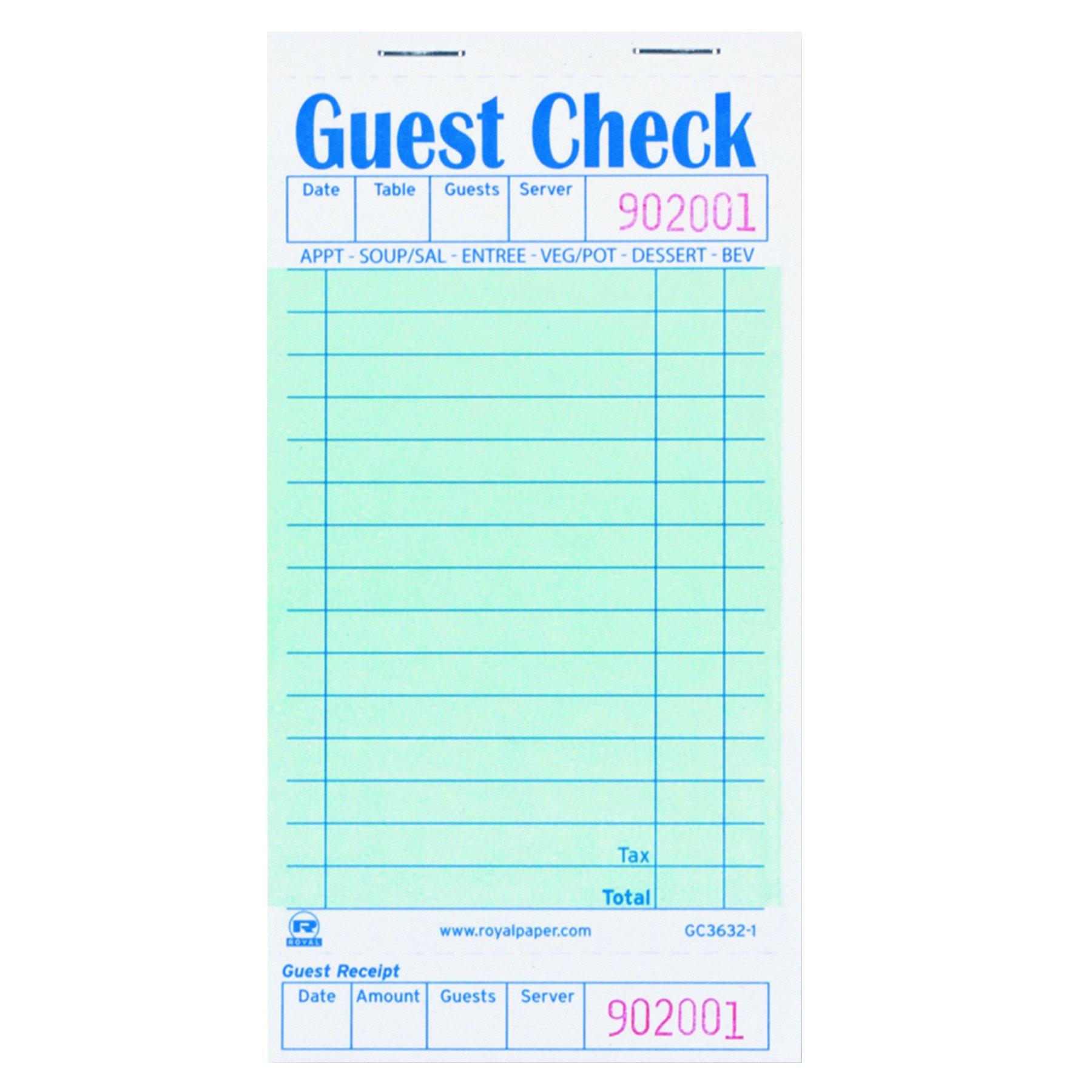 Royal GC36321 Guest Check Book, 3 1/2 x 6 7/10, 50 per Book (Case of 50 Books)