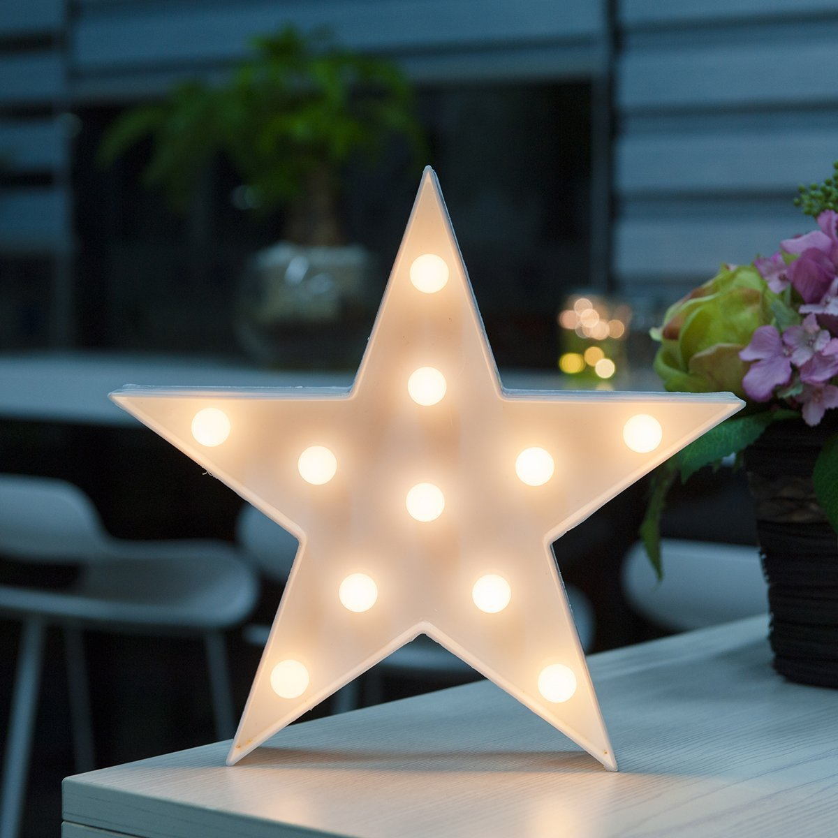 WED LED Star Marquee Sign Lights, Star Shaped LED Night Lamp Light for Home Wall/Chistmas/Table/Birthday/Party/Wedding/Bedroom/Living Room Decorations, Children Kids Gifts
