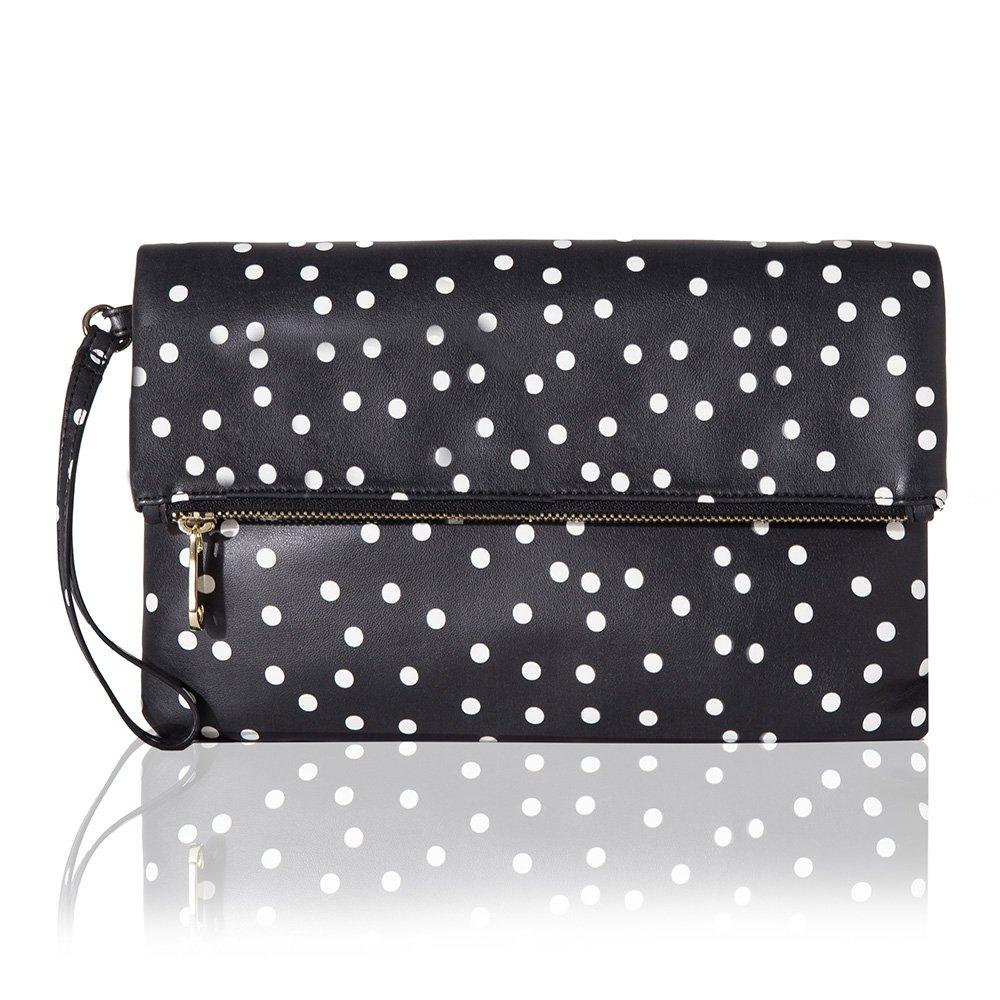 The Lovely Tote Co. Women's Polka Dot Fold Over Top Zip Clutch Wristlet Handbag, Black