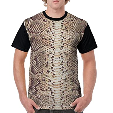 60a83be6eb38 Image Unavailable. Image not available for. Color  LPOWA Men s T-Shirt  Snake Skin Pattern Short Sleeve Tee 3D ...
