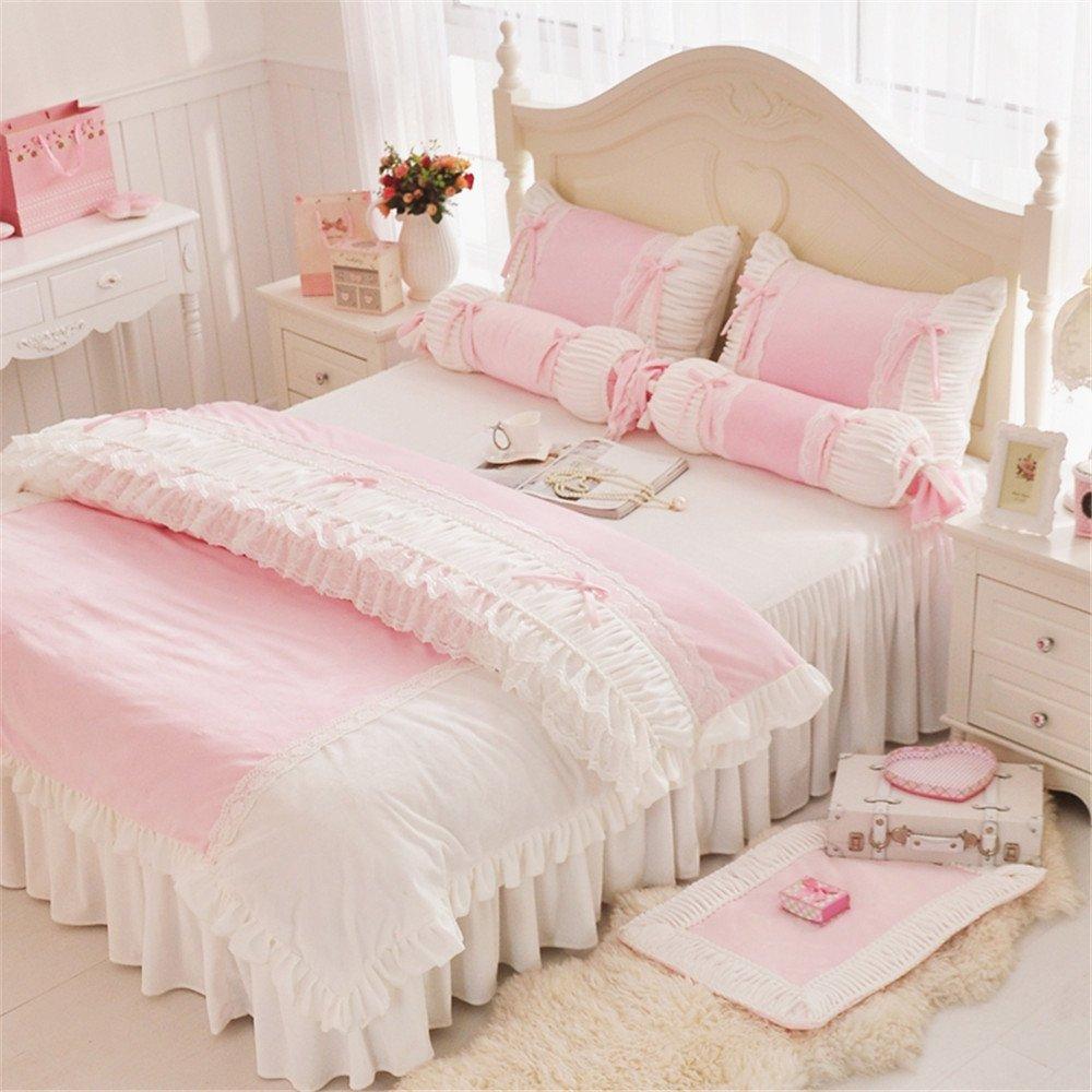 Abreeze Romantic White Ruffle Duvet Cover Sets Cute Girls Short Plush Bedding Set 3PCS,Pink, Twin