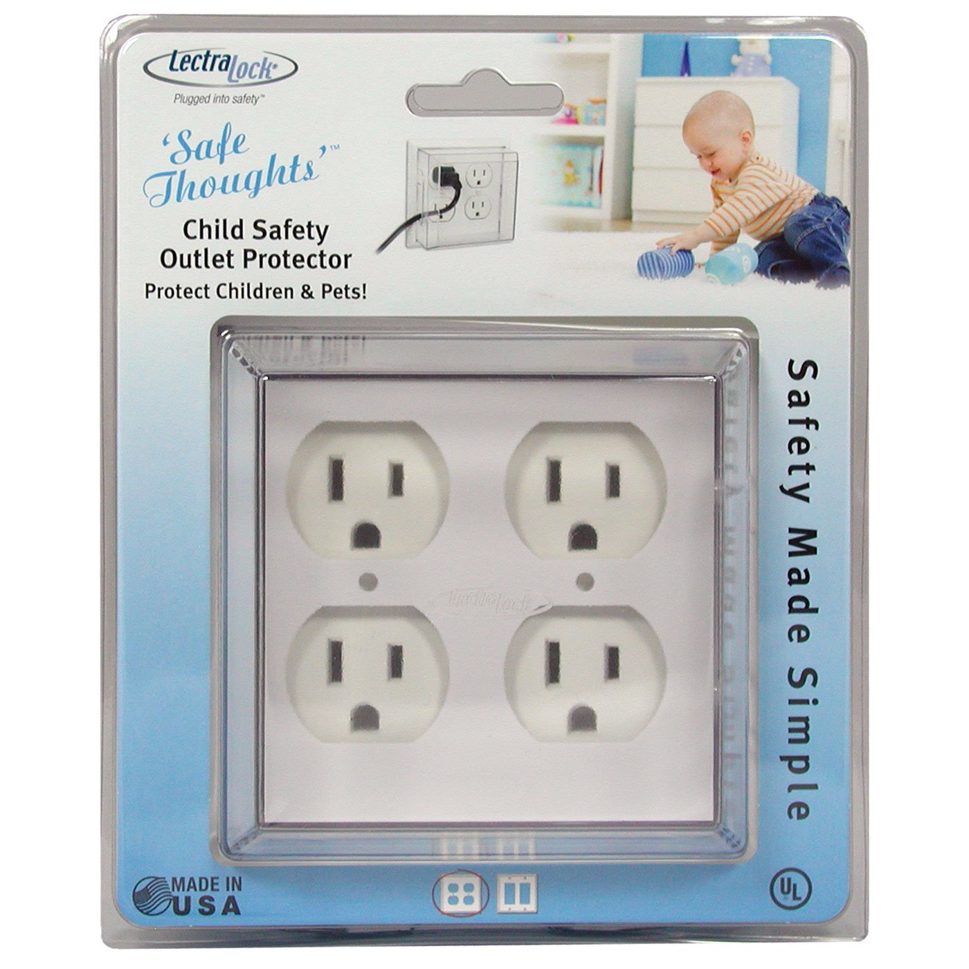 LectraLock 6 Pack Baby Safety Duplex Single Electrical Outlet Protector White