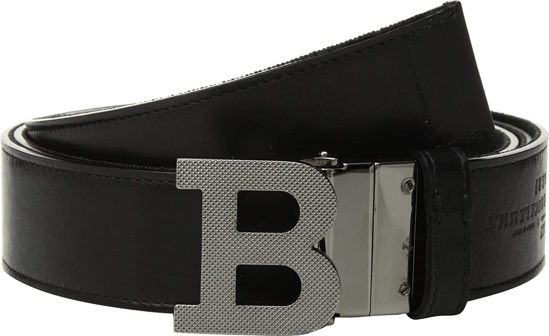 Bally Mens B Buckle Fixed//Reversible Belt Black//Fango 36
