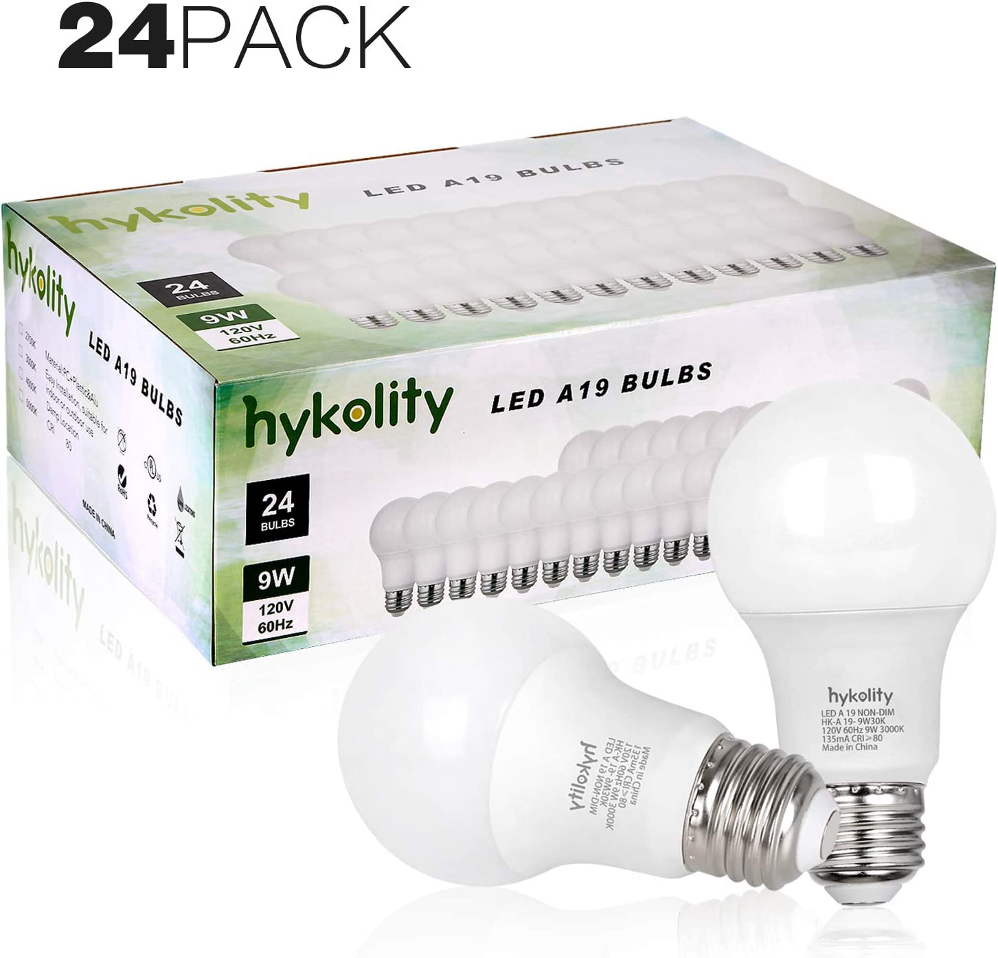 Hykolity 24 Pack 60W Equivalent A19 LED Light Bulb, 9W, 5000K Daylight, 800LM, E26 Medium Base, Non-Dimmable, UL Listed