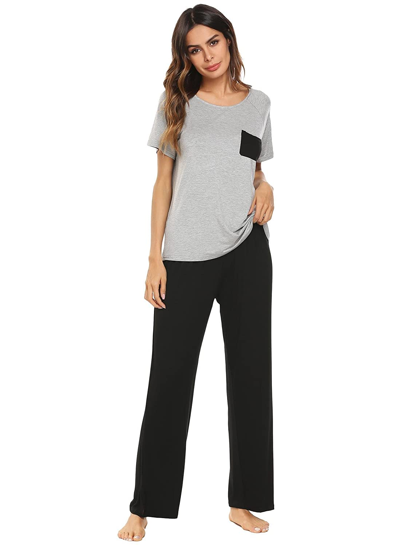 Grey2 Vansop Women Pj Set Short Sleeve Top and Striped Pajama Pants Sleepwear SXXL