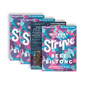 Stryve Protein Snacks | Air Dried 100% Beef | Lighter than Jerky | No Carb, No Sugar | 16g Protein | Keto & Paleo Friendly | Smoked, 4 Pack of 2.25oz