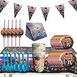 Juego de Cubiertos Desechables, Set de 92 Piezas Plato de Toy Story 4 para Fiestas Incluye Pancarta Platos Cubiertos…