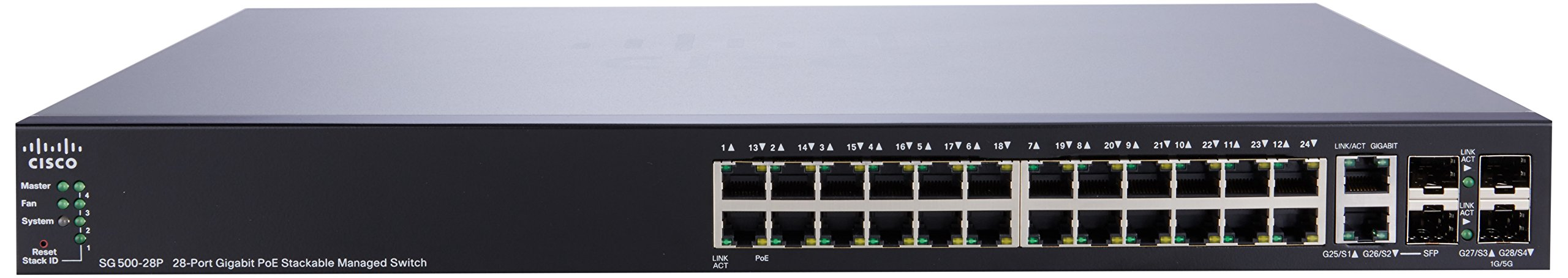 Cisco SG500-28P 28 Port Gigabit POE 500 Series Stackable Managed Switch