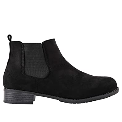 Ladies Flat Low Heel Pull On Chelsea Ankle Boots Faux Leather ...